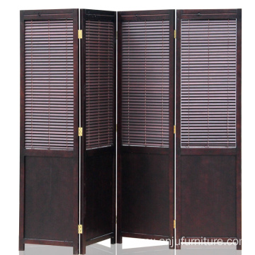 Chinese style room divider, solid wood folding screen, office antique wooden screen.
